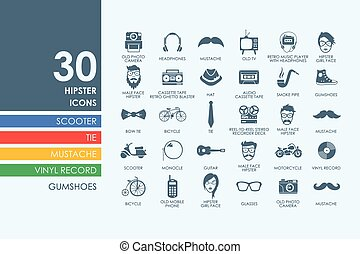 Set of hipster icons - hipster vector set of modern simple...