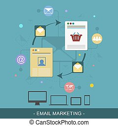 Email marketing flat design concept Editable vector...