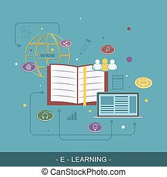E-Learing flat vector illustration concept - E-Learing flat...