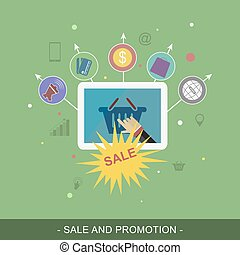 Sale and promotion vector banner Flat illustration for...