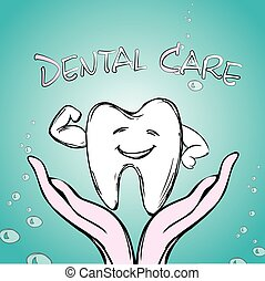Dental care, tooth on hand, hand drawn vector.