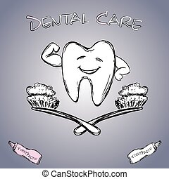 Dental care, hand drawn vector.