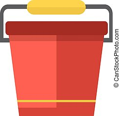Water bucket vector illustration. - Red bucket of water....