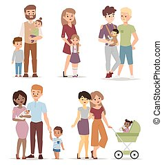 Different family vector illustration - Different gay family,...