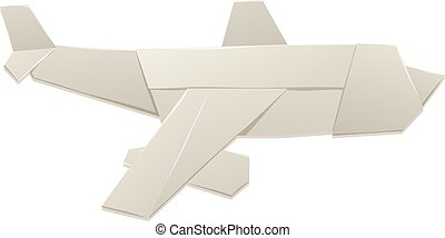 Paper toy plane isolated on white background