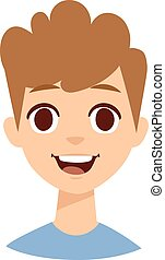Happy boy face vector illustration - Adorable young happy...