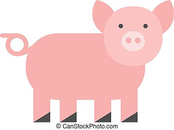 Pigs vector - Cute pig Cheerful pig Funny pig vector...