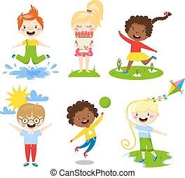 Summer kids vector illustration. - Many different summer...
