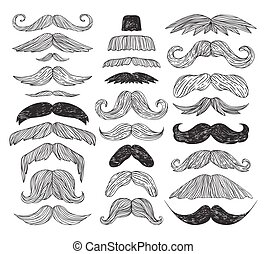 Huge set of vector mustache - Huge set of black silhouette...