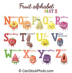Fruit alphabet - Full vector cute cartoon tasty alphabet for...