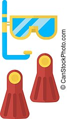 Snorkeling vector illustration. - Beach vacation fun water...