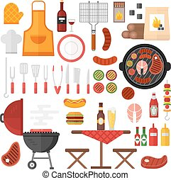BBQ barbecue icons vector illustration.