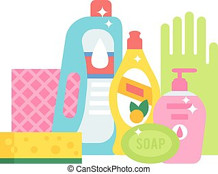 Household chemicals vector illustrations - Plastic detergent...