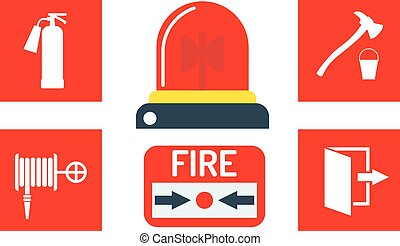 Alarm icons vector illustration - Fire alarm and alarm icons...