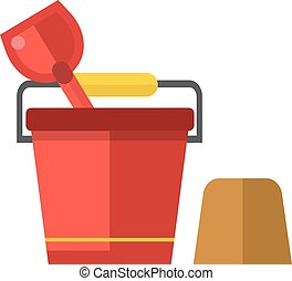 Child bucket vector illustration - Toy bucket and spade...