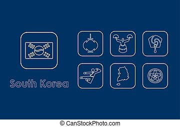 Set of South Korea simple icons - It is a set of South Korea...