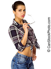 Young girl in jeans