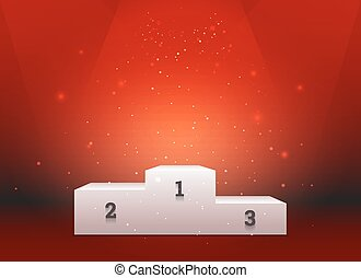 Empty template of white pedestal for winners on red background