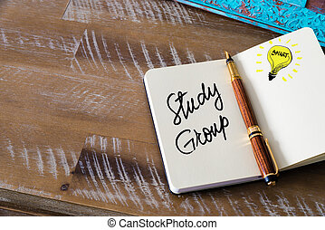 Handwritten text Study Group with fountain pen on notebook....