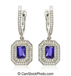 Silver earrings with sapphire isolated on white - Close up...