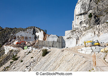 Marble Mine in Carrara Italy - Working marble mine in the...