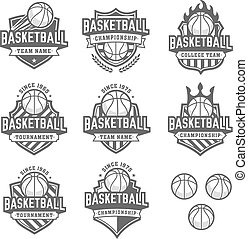 greyscale Vector Basketball logos - Collection of eight...