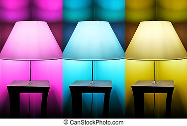 3 lamps - Photo of 3 lamps: pink, blue and yellow