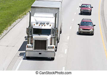 Cars Pass Truck On The Interstate - Cars Passing Big Truck...
