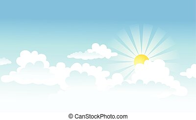 sun and clouds - vectorial background with the sun and...
