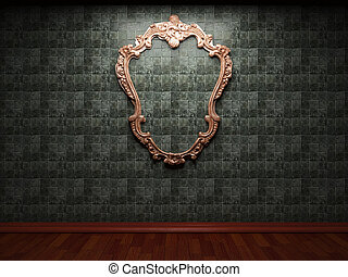 illuminated wooden wall and frame