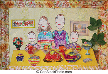 Child's drawing of family. Happy family with two children -...