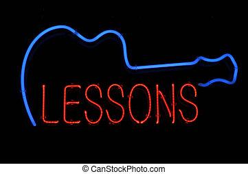 guitare, leçons, néon, signe
