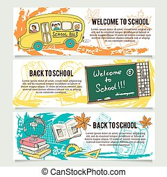 Back to school banners or website header set