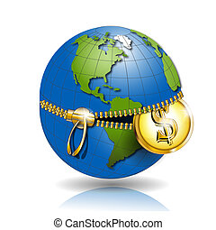 Globe with dollar - Illustration, globe revealled on equator...