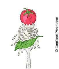 Spaghetti with cherry tomato and Basil leaf on a fork Hand...