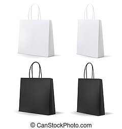 Empty Shopping Bag White and Black Set for advertising and...