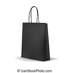 Empty Black Shopping Bag for advertising and branding MockUp...