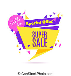Super Sale and Special Offer paper banner Sale background...