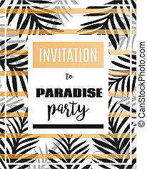 Summer party poster with palm leaf and lettering Paradise...