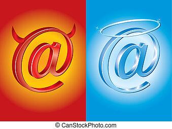 Email symbol - Bad Vs Good, devil vs angel