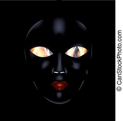 darkness and black mask - dark background and the large...