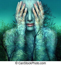 Girl and Nature in Blue - Surreal and artistic image of a...