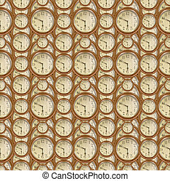 Vintage Clocks Seamless Pattern Design - Conversational...