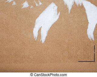 corrugado, marrón, rasgado, etiqueta, Plano de fondo, cartón