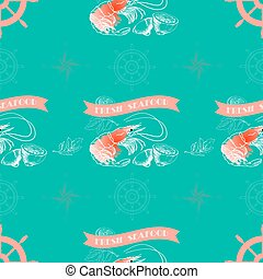 Vector seamless pattern with shrimp, lemon,  words Fresh Seafood
