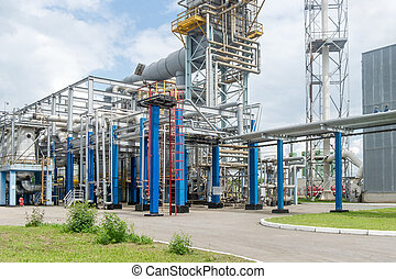 Industrial equipment and pipelines at the gas processing...