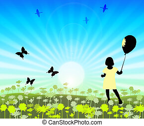 silhouette small girls on floral meadow with flitting...