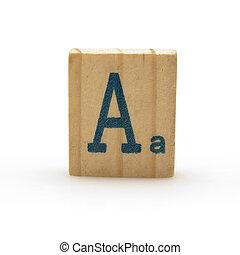 bois, bloc, lettre, isolé