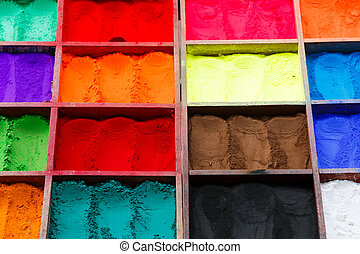 Natural paint powders - Close up photo of variety nepalese...