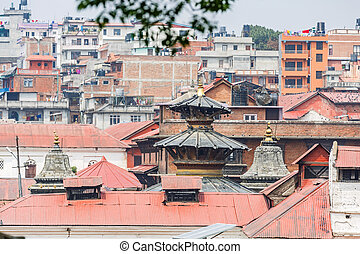 Cityscape of Kathmandu and Pashupatinath sacred place from...